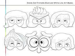 Coloring Pages Inside Out Printable Black And White Line Art Mask Photo Props Emotions Costume Kids Dress Up Party Favors Birthday