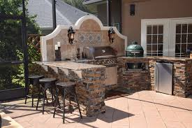 Outdoor Kitchen With Big Green Egg Gas Grill And Bar Seating Transitional Patio