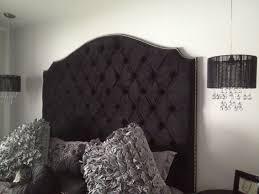 Velvet Super King Headboard by Black Velvet Diamond Tufted Elongated Cavendish Shape Headboard