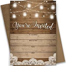 Rustic Fill In Party Invitations