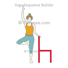 Tree Pose Holding Onto Chair