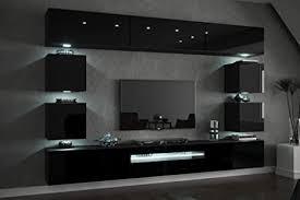 furnitech future c81 wohnzimmer wandschrank mediawand mit led beleuchtung schrankwand wohnwand möbel c81 hg b1 1a 257 cm led rgb 16 farben