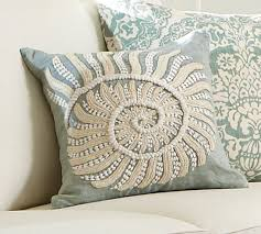 blue nautilus embroidered pillow cover pottery barn