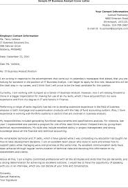 Sample Of Cover Letters For Resume Letter Examples Business It Analyst Samples