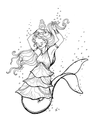 Original Coloring Pages Mermaid Dolphin Tail Tiered Dress