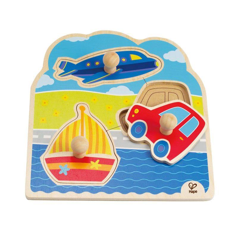 Hape Wooden Toddler Knob Puzzle - On The Go