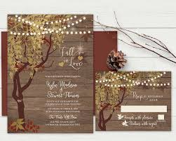 Rustic Fall Wedding Invitation Gold Tree
