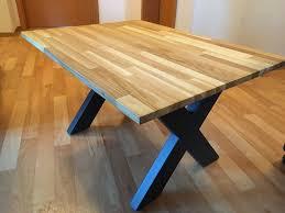couchtisch wohnzimmer industriedesign eiche stahl massivholz