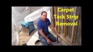 Carpet To Tile Transition Strip On Concrete by How To Remove Carpet Tack Strip From Concrete Youtube