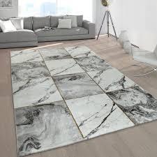 kurzflor teppiche grau gold weich wohnzimmer marmor optik vers designs