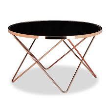 table de canapé relaxdays table basse ronde copper en cuivre et verre noir table