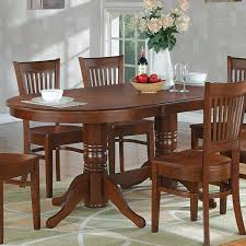East West Furniture 59 76 Inch Vancouver Double Pedestal Oval Dining Table With Butterfly Leaf