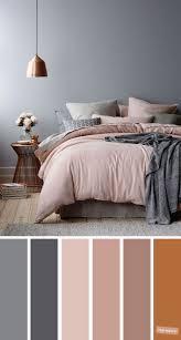 kupfer grau und lila farbschema für schlafzimmer
