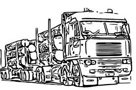 Log Truck Coloring Pages Sketch Page
