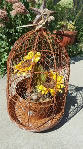 Primitive Rustic Metal Chicken Wire Atrium Planter With Star Flower Pot Floral Decorations Wedding Centerpiece From