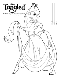 Rapunzel Coloring Sheets Black White