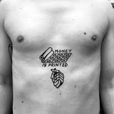 Small Chest Money Is Printed Black Ink Guys Tattoos