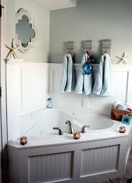 Bathroom: Beach Bathroom Decor With Corner Whirpool Bathtub ... Modern Guest Bathroom Coastal Vessel Sink Seaside Arstic 35 Cute And Sleek Ideas Decor With Excellent Surprising Nautical Ornaments For Grey Floor Fniture Des 25 Inspirational Theme Design Beachy Decorating Creative Decoration Beach House Decor Bm Fniture Coral Teal Awesome Best On Beach Themed Rooms Wall Small Mirror Vanity 2perfection Basement Reveal
