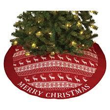 Gerson Reindeer Snowflake Ugly Sweater Look Christmas Tree Skirt 48 Inch Diameter New