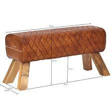finebuy sitzbank echtleder massivholz 89x46x35 cm leder modern turnbock springbock lederhocker sitzhocker turnbank gepolstert