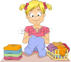 Illustration Of A Little Girl Folding Stack Clothes