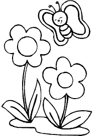 Flowers With Small Butterfly Coloring Picture For Kids