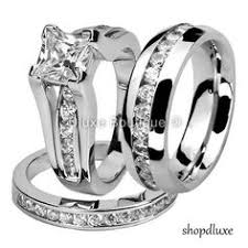 His and Hers Stainless Steel Princess Wedding Ring Set & Beveled