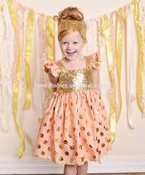 baby girls gold polka dot cotton frocks girls kids sequins dresses
