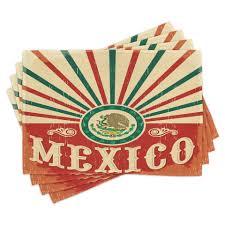 tischdecke waschbare stoff esszimmer küche tischdekorations digitaldruck abakuhaus 4 teilig 4 teilig st set aus 4x mexikaner vintage
