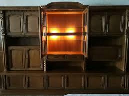 eiche massiv schrank wohnzimmer mit glas vitrine antik in