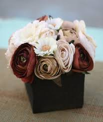 SET Of 12 Fall Wedding Rustic Roses Barn Wood Style Planter Silk Flowers Centerpiece Item