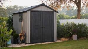 keter oakland 7 6 x 9 resin paintable shed at menards