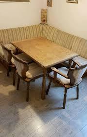 esszimmer tisch 3 stühle eckbank holz mit federkern vintage