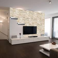 wanddeko wohnzimmer steinwand decoración de sala de tv