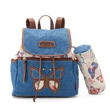 denim butterfly print backpack with pouch