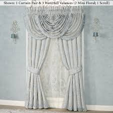 Nicole Miller Home Two Curtain Panels by Couture Pale Blue Pleated Drop Grande Bedspread
