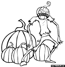 Scary Pumpkin Creature Halloween Coloring Page
