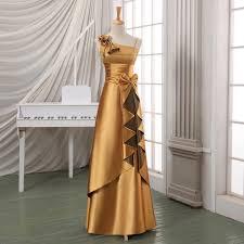 luxury gold long formal evening dress long satin evening dress