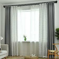 großhandel faux baumwolle leinen blackout plaid nähen vorhänge fenster vorhang patchwork wohnzimmer vorhänge stoff moderne fenster vorhang bigmum