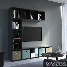 vicco raumteiler 4 fächer schwarz 144 x 36 cm standregal hängeregal regal tv lowboard sideboard