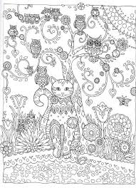 Cat And Owls Abstract Doodle Zentangle ZenDoodle Paisley Coloring Pages Colouring Adult Detailed Advanced Printable Kleuren