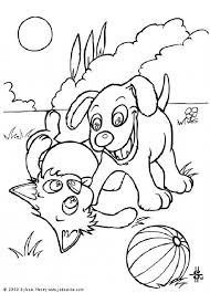 Dog And Cat With Ball Coloring Page
