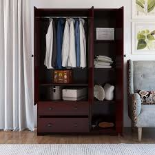 Dakota Rustic Solid Mahogany Wood Large Wardrobe Armoire With Drawers