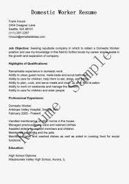 Domestic Worker Resume Sample Ipasphoto Rh Com Helper Samples Simple