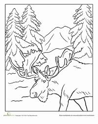 First Grade Coloring Worksheets Alaska Moose Page