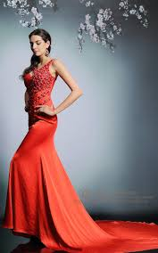 sequin rhinestone red trumpet dress with low back prom dress
