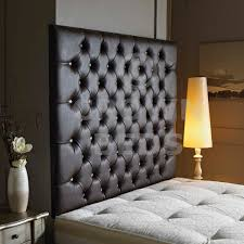 Black Leather Headboard With Diamonds by Beds 24hr
