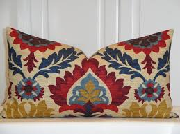 Red Decorative Lumbar Pillows by Decorative Pillow Cover Fits 12 X 22 Suzani Red Navy Blue