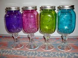 Christmas Multicolor Glass Mason Jar Redneck 20oz Country Wine Glasses Mug Set Of 4 A