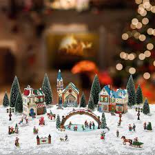 Details About Christmas Village Scene 30 Pieces With Lights And Music BRAND NEW